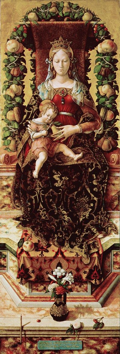 画像_カルロ・クリヴェッリ「玉座の聖母子(ろうそくの聖母)」
