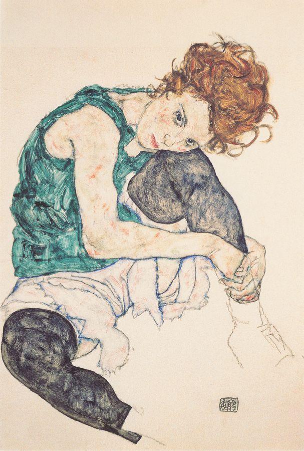 画像_エゴン・シーレ「左ひざを折って座っている女性」