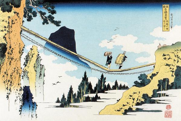 画像_葛飾北斎「諸国名橋奇覧_飛越の堺つりはし」