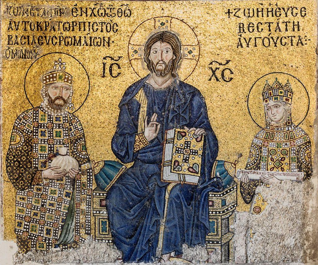 キリストと11世紀の皇帝コンスタンティノス9世夫妻の画像
