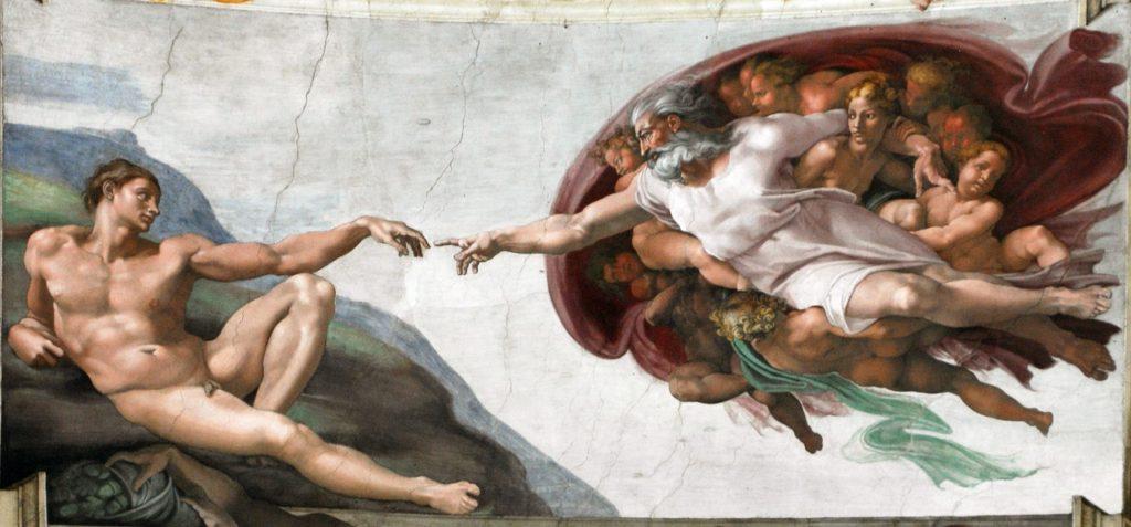 ミケランジェロ・ブオナローティ「システィーナ礼拝堂天井画 - アダムの創造」