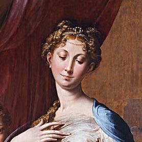 パルミジャニーノ「長い首の聖母」の部分拡大