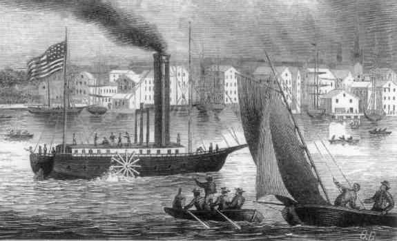 産業革命のときに誕生した蒸気船のイメージ画像。