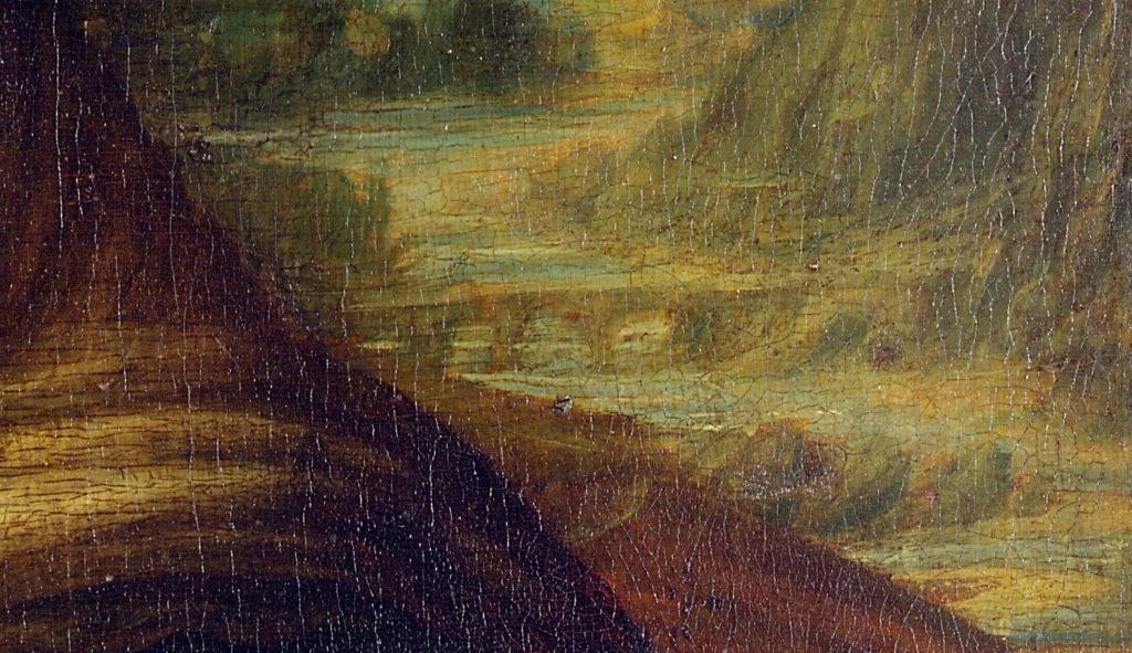 モナ・リザの背景に描かれた橋の拡大画像