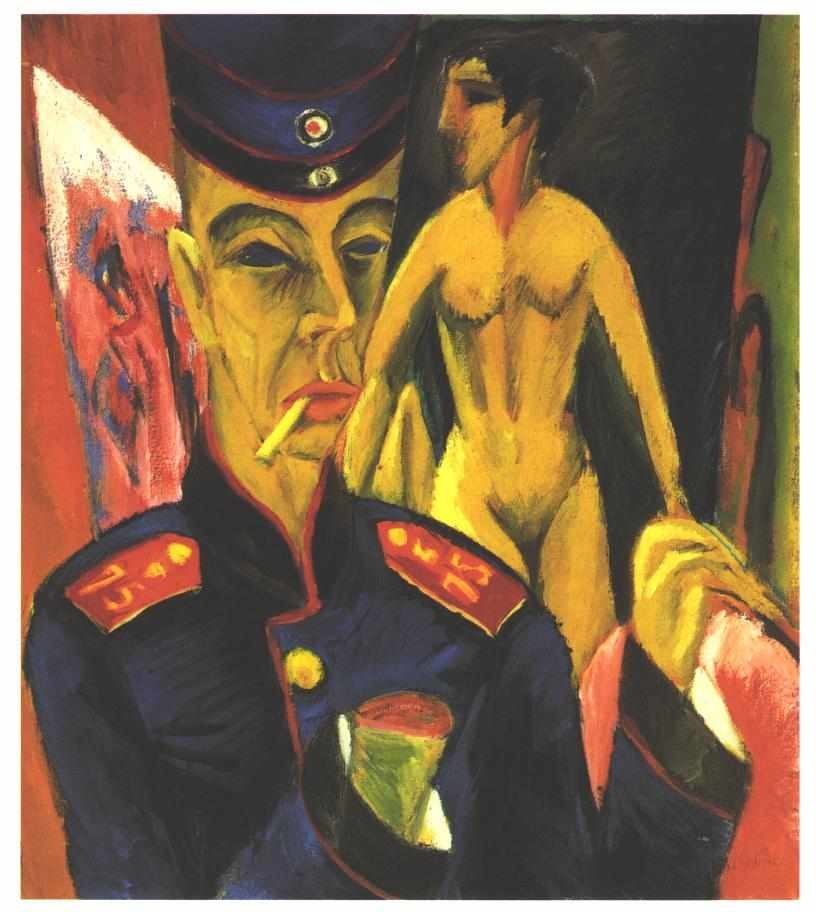 エルンスト・ルートヴィヒ・キルヒナー「兵士としての自画像」