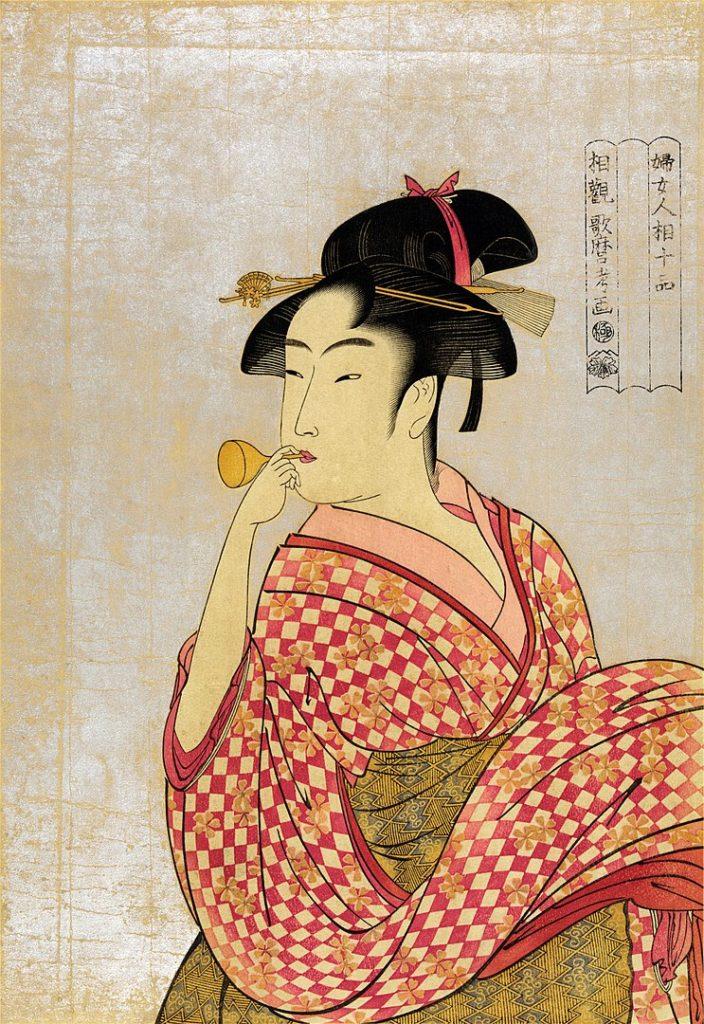 喜多川歌麿「ポッピンを吹く女」